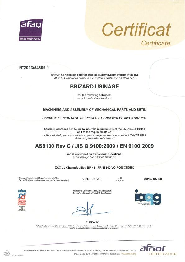En 9100 Certification Brizard Industries